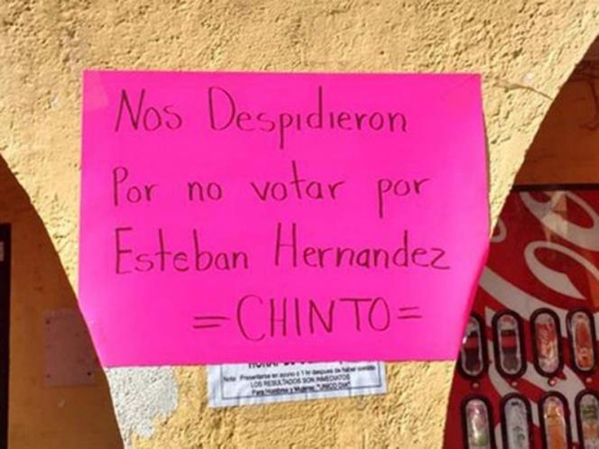 Edil de Morelos despide a trabajadores que no votaron por él