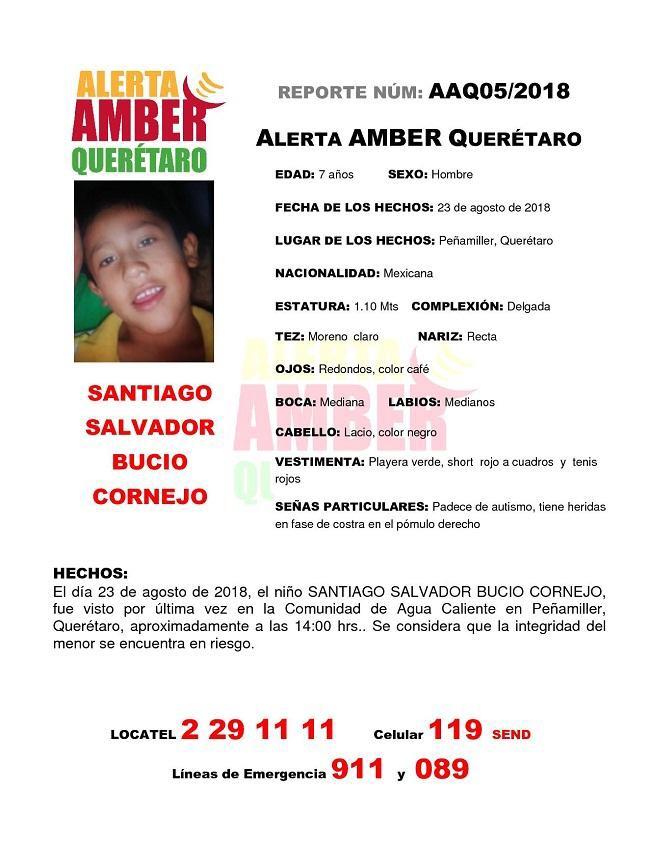Activan Alerta AMBER por menor desaparecido en Peñamiller