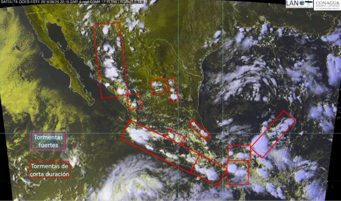 Alertan sobre tormentas en Zona Pacífico