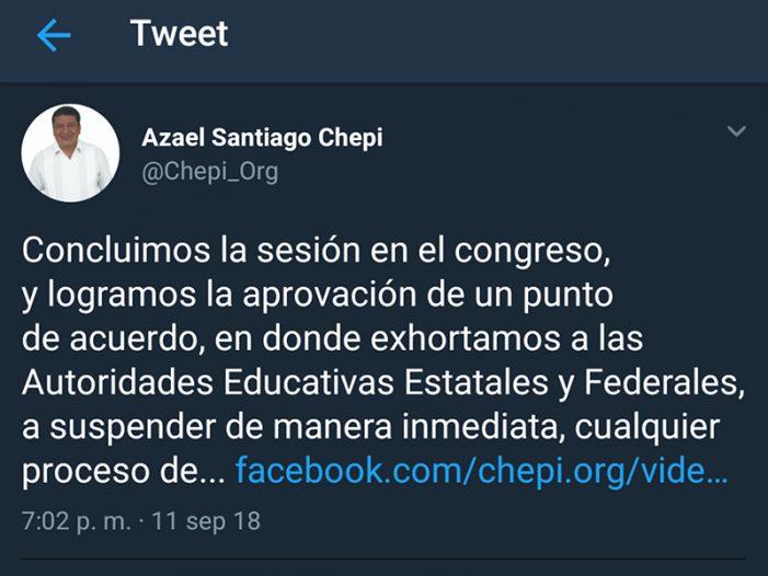Exdirigente de CNTE celebra exhorto contra evaluación docente con faltas de ortografía