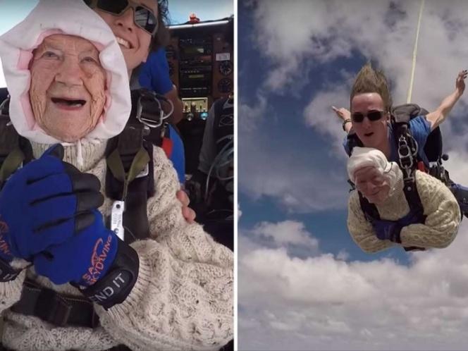 Mujer de 102 años se lanza en paracaídas y rompe record