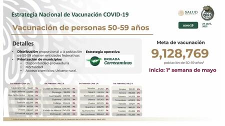 Anuncian jornada de vacunación nacional a personas de 50 a 59 años de edad