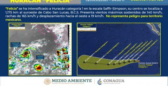 Felicia ya es huracán categoría I