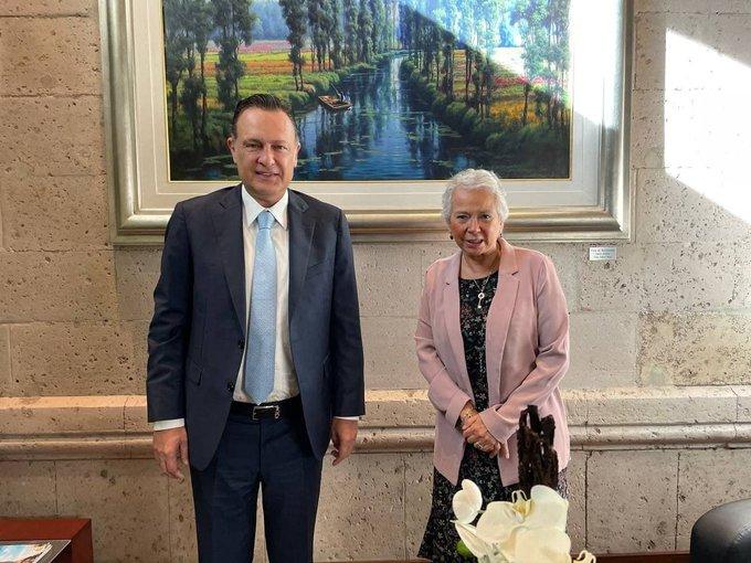 Mauricio Kuri se reúne con la secretaria de Gobernación